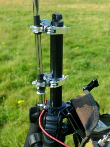 Antenna mounted to tripod centre column using QR bicycle seat clamps