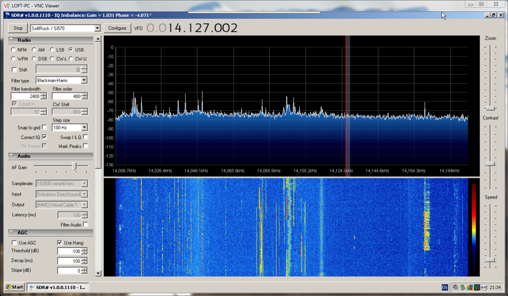 20m band displayed on SDR#