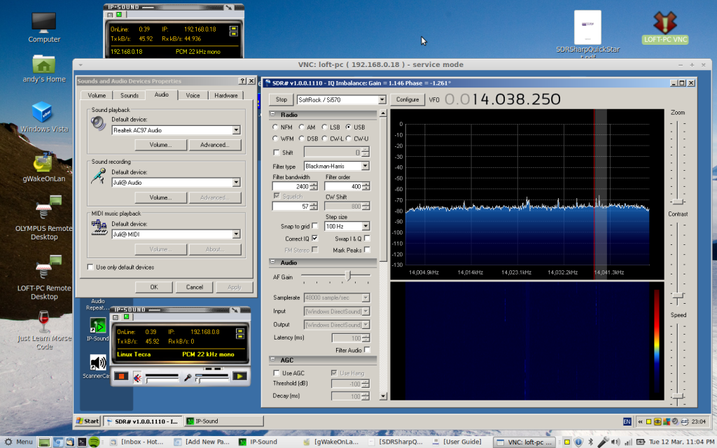 SDR# working SoftRock Ensemble II remotely