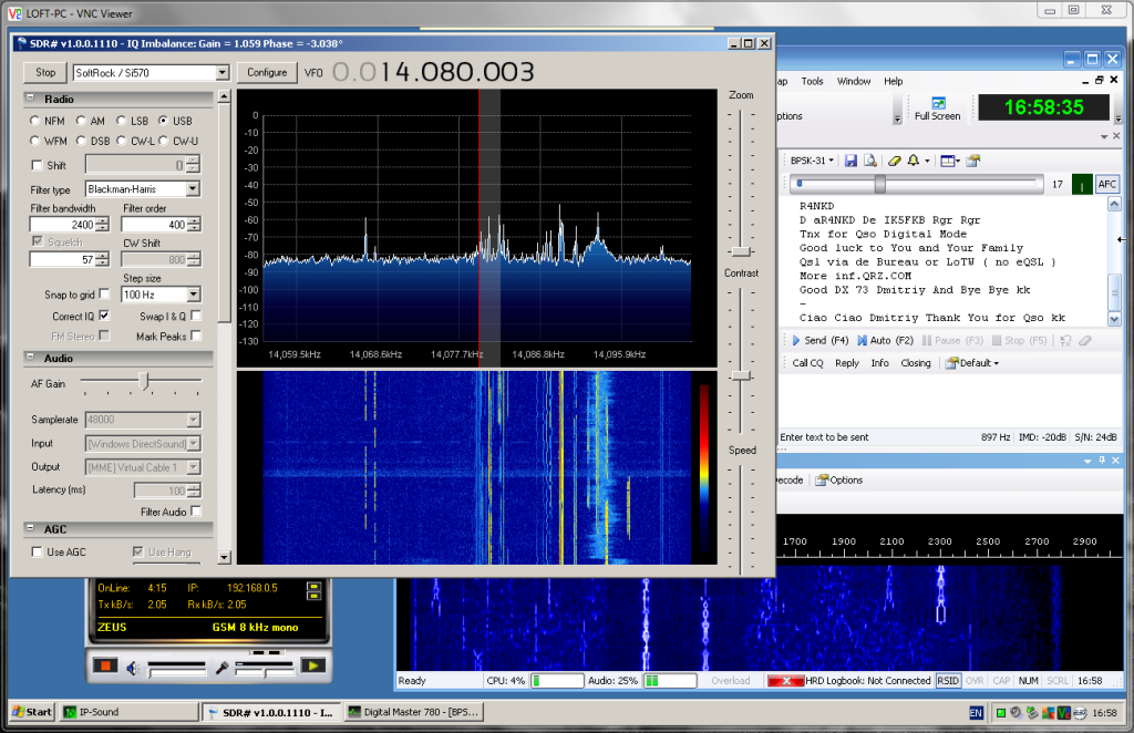 Loft PC - running Softrock Ensemble with SDR# and DM780