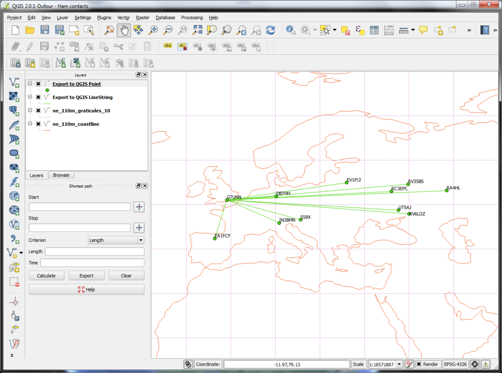 QGIS early days - 10 contacts imported