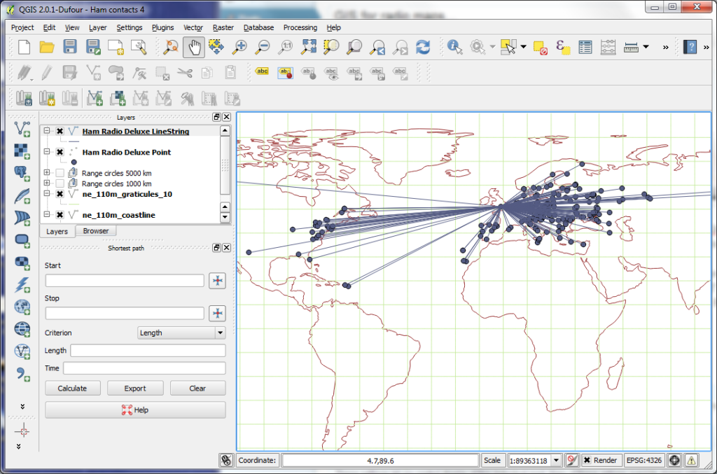 QGIS early days - all contacts imported