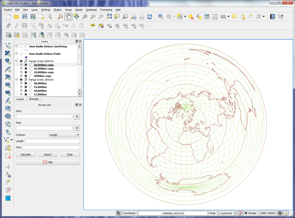 QGIS world map - Azimuthal Equidistant 1000km range circles