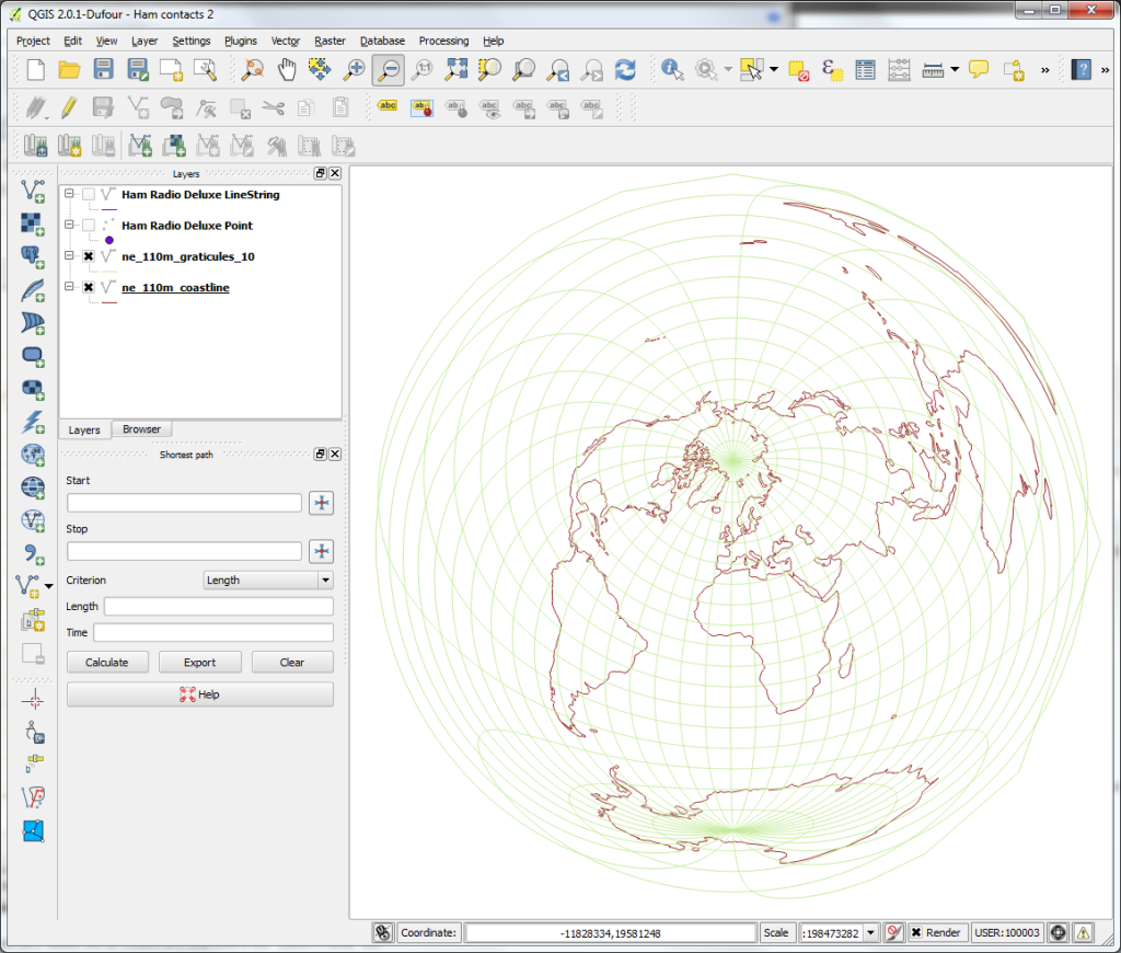 QGIS world map - Azimuthal Equidistant CRS