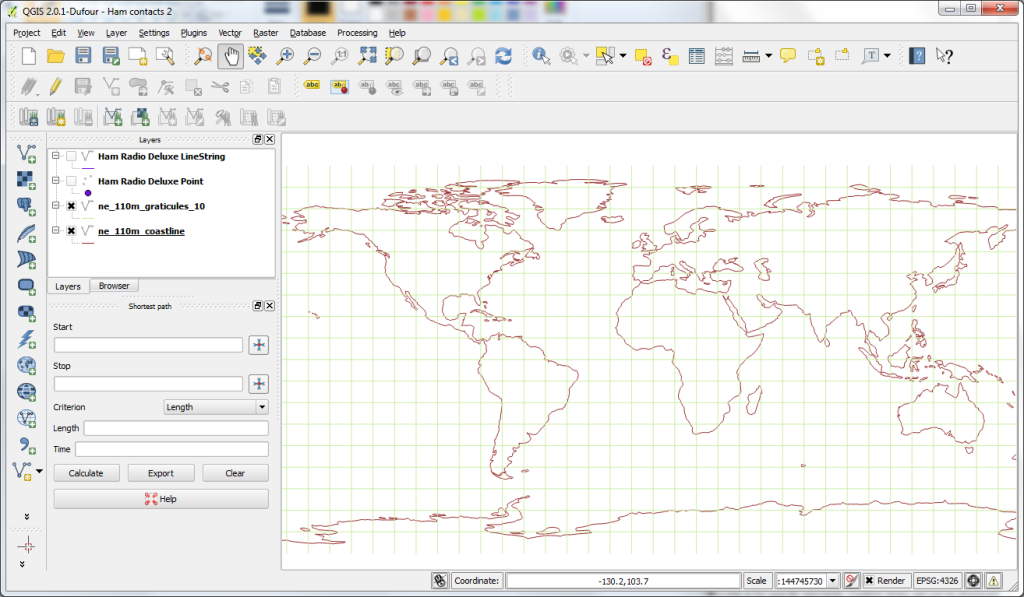 QGIS world map - WGS84 CRS