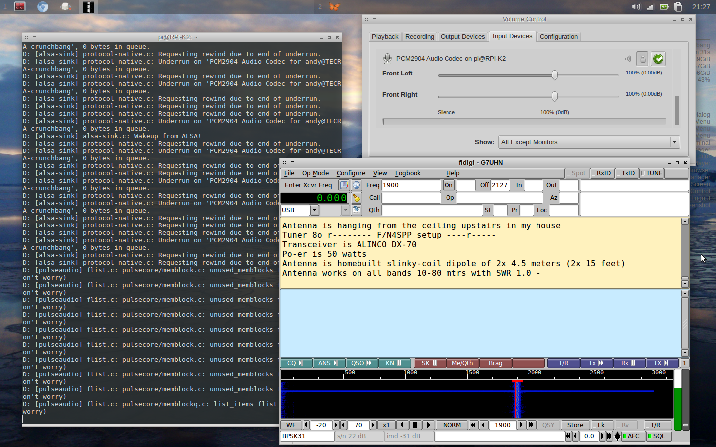 Screenshot - 210314 - FLDigi decoding remote audio from SignaLink via pulseaudio server on RPi