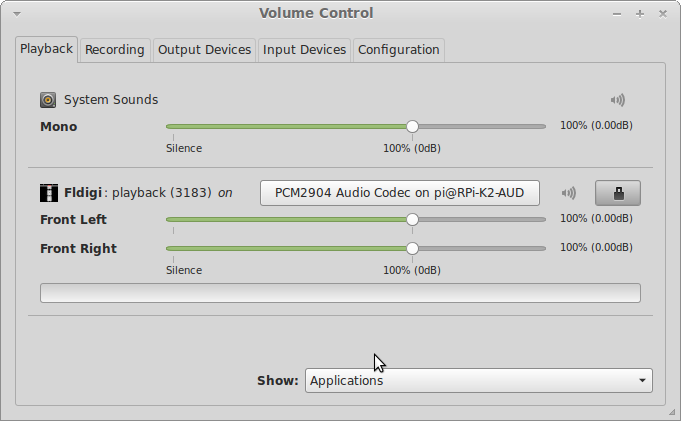 pavucontrol playback