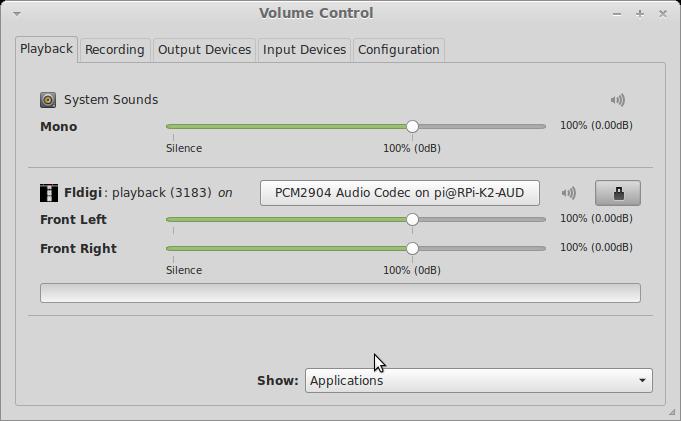 pavucontrol playback
