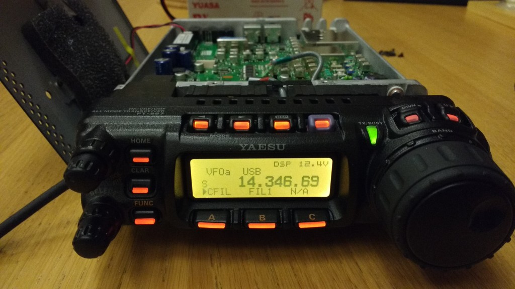 "Yaesu FT-857D displaying Inrad 2.0 kHz filter as ""FIL1"""