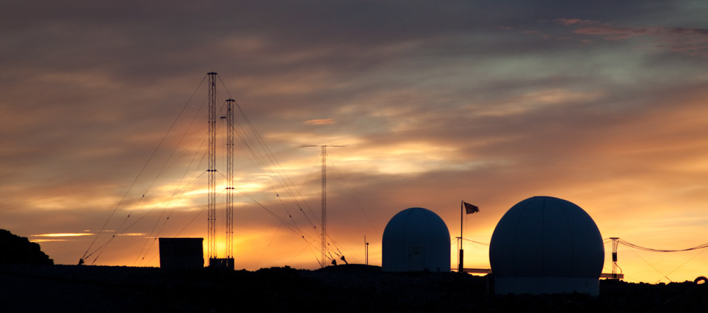Antennas at Rothera late on a summer's evening, 2009
