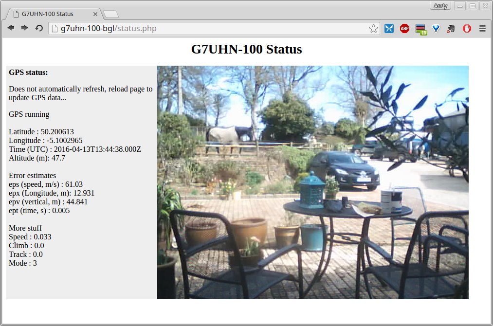 The G7UHN-100 status page shows GPS data and live video stream